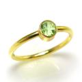 ペリドット指輪 14kgfリング 天然石 ベゼル ラウンド 4mm ゴールドフィルド(1個)