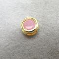 14kgfベゼルチャーム/天然石ピンクオパール(ラウンド4mm)ベゼル「ゴールドフィルド」(1個)