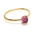 14kgfリング(指輪)天然石ピンクトルマリン<10月誕生石>(ブラジル・加熱)4mm(4本爪カボション・ラウンド)(サイズ目安:9号)「ゴールドフィルド」(1個)