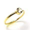 アクアマリン 指輪 リング 14kgf 天然石 ベゼル ラウンド 4mm ゴールドフィルド(1個)