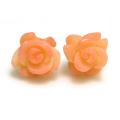 薔薇ピアス(コーラル珊瑚サンゴ)(染・ピンク)14kgf ゴールドフィルド 9~12mm(1ペア)