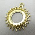ペンダント石枠・空枠チャーム(ベゼルセッティング/カボション用)(ラウンド14mm)(真鍮ブラス・ゴールドカラー)(2個)
