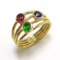 ルビー<7月誕生石>・ブルーサファイア<9月誕生石>・クロムダイオプサイト 天然石指輪 ハンマード リング(ラウンド3mm×3)(真鍮ブラス・ゴールドカラー)(1個)