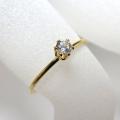 人工ダイヤモンド類似石・ 合成モアッサナイト 【AAA】 D~Fカラー リング指輪 3mm 「14kgf ゴールドフィルド」