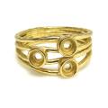 ハンマードリング 指輪 3mm空枠(石枠)×3(真鍮ブラス・ゴールドカラー)(1個)