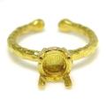 ブラス リング ハンマード 指輪 ラウンド 4本爪 6mm(5.5~6.5mm)空枠 真鍮ブラス・ゴールドカラー(2個)