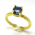 ロンドンブルートパーズ 指輪 リング 天然石 6mm 真鍮ブラス・ゴールドカラー