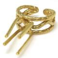 リング 空枠 指輪 ラフストーン・タンブル~カボション 4本爪 43mm 真鍮ブラス・ゴールドカラー(1個)