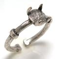 銀古美 指輪 ブラスリング 空枠 石枠 4本爪 ラウンド 6mm シルバー (真鍮ブラス・アンティークカラー)2個