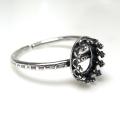銀古美 ハンマード指輪リング空枠クラウン(ベゼルセッティング/カボション用)(オーバル8×6mm)(真鍮ブラス・アンティークシルバー)(3個)