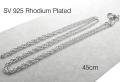 シルバー925ロジウムプレーテッド/チェーンネックレス45cm【ロープチェーン・幅1.1mm】(25本)