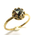 パイライト 指輪 リング 天然石 ハンマード ラウンド6mm 真鍮ブラス・ゴールドカラー/1個