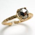 天然石リング 指輪 パイライト ローズカット ハンマードリング(4本爪 カボション ラウンド 5mm)(真鍮ブラス・ゴールドカラー)