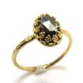 天然石パイライト・ローズカット指輪ハンマードリング(カボションオーバル・8×6mm)(真鍮ブラス・ゴールドカラー)(1個)
