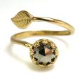 天然石パイライト 指輪リング・リーフ(ベゼルカボションラウンド・6mm)(真鍮ブラス・ゴールドカラー)(1個)