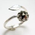 天然石パイライト 指輪リング・リーフ(ベゼルカボションラウンド・6mm)(真鍮ブラス・シルバーカラー)(1個)