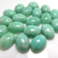 天然石ルース(裸石)・アマゾナイト/カボション(オーバル)ブラジル産【14×10mm】(2個)