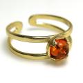 天然石バルティックアンバー 琥珀 バルト海沿岸部 指輪リング・カボション(ラウンド・5mm)(真鍮ブラス・ゴールドカラー)(1個)