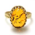 バルティックアンバー琥珀 リング 指輪 天然石(カボションオーバル14×10mm)(真鍮ブラス・ゴールドカラー)(1個)
