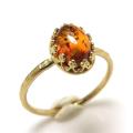 バルティックアンバー琥珀 指輪 天然石リング ハンマードリング(カボションオーバル8×6mm)(真鍮ブラス・ゴールドカラー)(1個)
