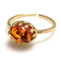 バルティックアンバー琥珀 指輪 天然石リング ハンマードリング(カボションオーバル横8×6mm)(真鍮ブラス・ゴールドカラー)(1個)