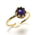 アメジスト 指輪 <2月誕生石>天然石 アフリカ ハンマードリング ラウンド6mm 真鍮ブラス・ゴールドカラー/1個