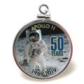 アポロ11号 APOLLO 月面着陸 50周年記念 コインペンダント・アメリカ クオーター(25セント)バチカン付「シルバーSV925」(【C】1個)