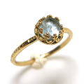アクアマリン 指輪 リング<3月誕生石> 天然石 ハンマード ラウンド6mm 真鍮ブラス・ゴールドカラー/1個