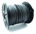 カーフレザーレース(ハードタイプ)(本革レース/平紐)ブラック(6mm×10メートル)(1本)