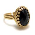 天然石ブラックオニキス指輪 ローズカット (カボションオーバル・14×10mm)(真鍮ブラス・ゴールドカラー)(1個)
