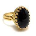 天然石ブラックオニキス指輪(カボションオーバル・14×10mm)(真鍮ブラス・ゴールドカラー)(1個)