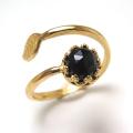 天然石ブラックオニキス・ローズカット指輪リング・リーフ(ベゼルカボションラウンド・6mm)(真鍮ブラス・ゴールドカラー)(1個)