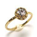 ブラックルチルクオーツ トルマリンインクォーツ ローズカット指輪 リング 天然石 ハンマード ラウンド6mm 真鍮ブラス・ゴールドカラー/1個