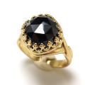 ブラックスピネル 指輪 リング 天然石 スクエア クッション ローズカット(カボション10mm)(真鍮ブラス・ゴールドカラー)(1個)