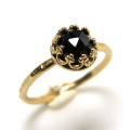 ブラックスピネル 指輪 リング 天然石 ローズカット ハンマード ラウンド6mm 真鍮ブラス・ゴールドカラー/1個