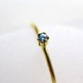 14kgfリング(指輪)天然石ブルーダイヤモンド<4月誕生石>【Si】(照射)2mm(ラウンド)(サイズ目安:7号)「ゴールドフィルド」(1個)