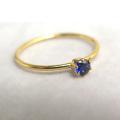 14kgfリング(指輪)合成石ブルーサファイア<9月誕生石>【AAA】3mm(ラウンド)(サイズ目安:10号~11号)「ゴールドフィルド」(1個)