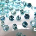 天然石ルース(裸石)・ブルージルコン(コロンビア産・加熱)/ラウンド【3mm】ダイヤモンドカット(5個)