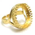 指輪リング空枠クラウン(ベゼルセッティング/カボション用)(ラウンド16mm)(真鍮ブラス・ゴールドカラー)(1個)