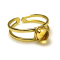 天然石シトリン<11月誕生石>・指輪リング(カボションラウンド・5mm)(真鍮ブラス・ゴールドカラー)(1個)