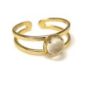 天然石ムーンストーン<6月誕生石>・指輪リング(カボションラウンド・5mm)(真鍮ブラス・ゴールドカラー)(1個)