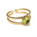 天然石ペリドット<8月誕生石>・指輪リング(カボションラウンド・5mm)(真鍮ブラス・ゴールドカラー)(1個)