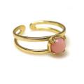 天然石ピンクオパール<10月誕生石>・指輪リング(カボションラウンド・5mm)(真鍮ブラス・ゴールドカラー)(1個)