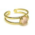 天然石ローズクオーツ<10月誕生石>・指輪リング(カボションラウンド・5mm)(真鍮ブラス・ゴールドカラー)(1個)