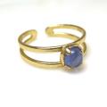 天然石タンザナイト<12月誕生石>・指輪リング(カボションラウンド・5mm)(真鍮ブラス・ゴールドカラー)(1個)