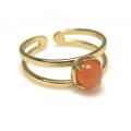 天然石ピーチムーンストーン<6月誕生石>・指輪リング(カボションラウンド・5mm)(真鍮ブラス・ゴールドカラー)(1個)