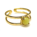 天然石イエローサーペンティン・指輪リング(カボションラウンド・5mm)(真鍮ブラス・ゴールドカラー)(1個)