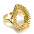 指輪リング空枠クラウン(ベゼルセッティング/カボション用)(ペア18×13mm)(真鍮ブラス・ゴールドカラー)(1個)