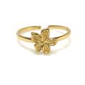 モチーフリング 指輪(フラワー)(真鍮ブラス・ゴールドカラー)(1個)