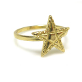スター 星 モチーフリング 指輪(真鍮ブラス・ゴールドカラー)(1個)